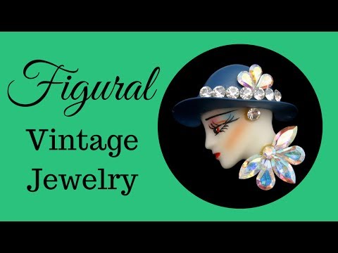 Figural Vintage Jewelry: Enamel Rhinestones Painted Lady Face by My Classic Jewelry