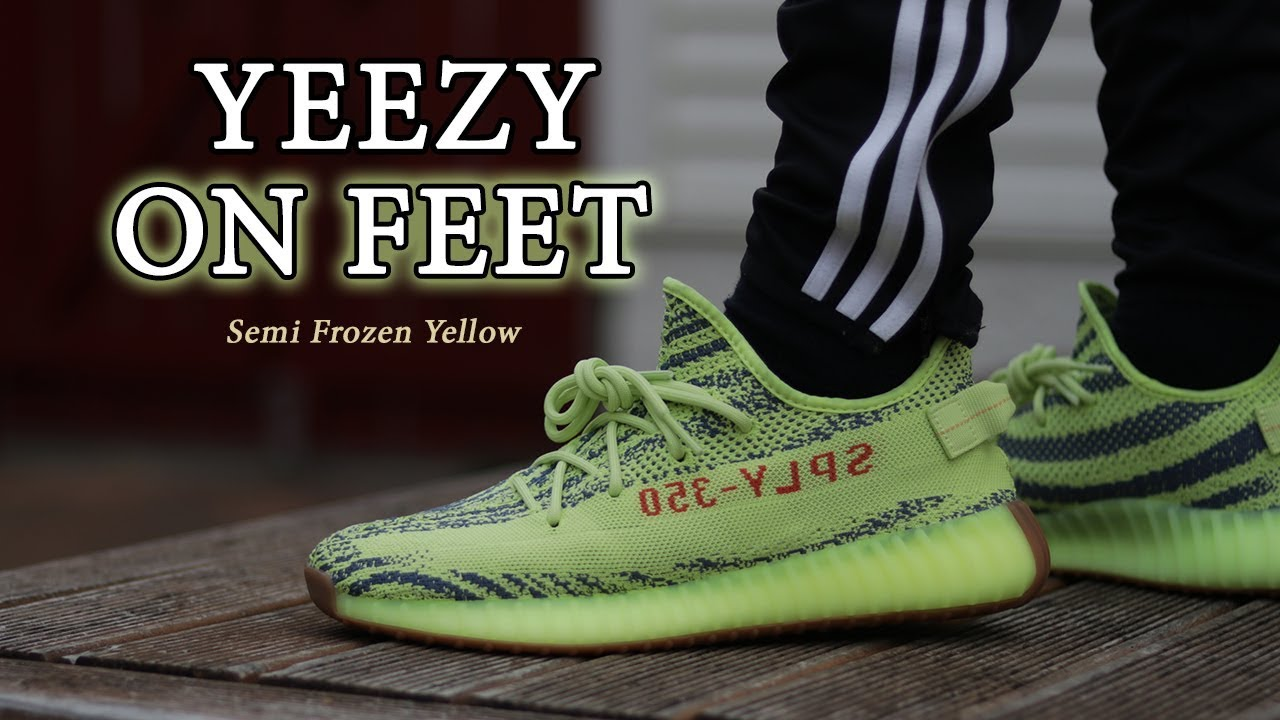 298eff10d7c03 Yeezy 350 V2 Semi Frozen Yellow Close Up + ON FEET With Different Pants