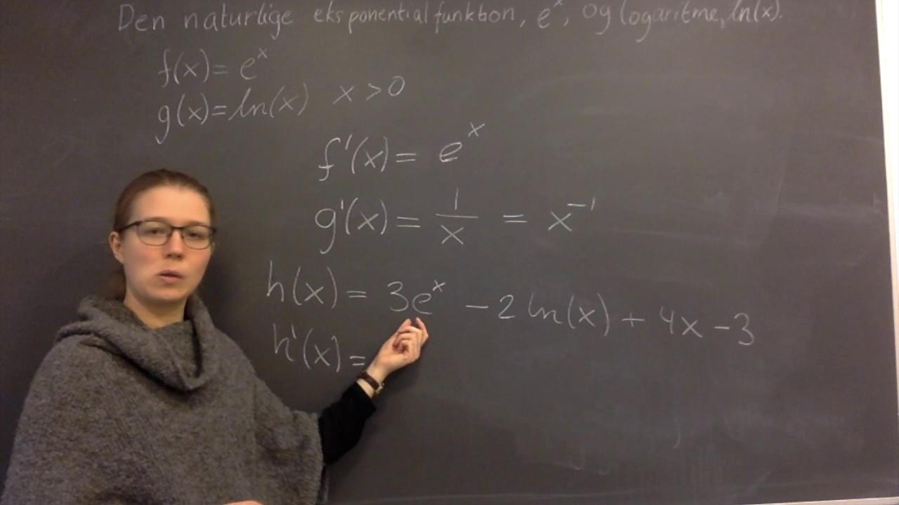 Differentiation af e i x'te og ln til x