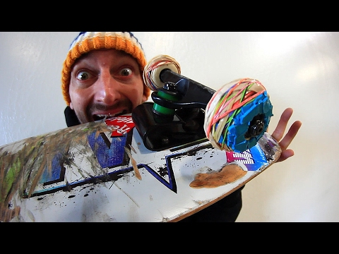RUBBER BAND SKATEBOARD WHEELS | YOU MAKE IT WE SKATE IT EP 87