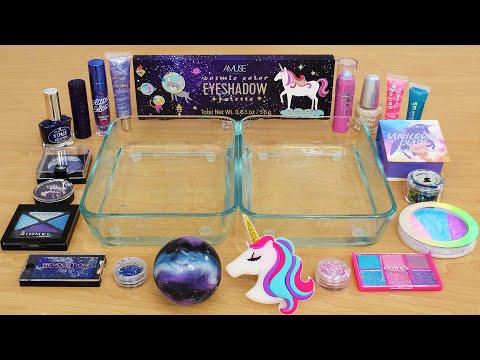 Galaxy Vs Unicorn - Mixing Makeup Eyeshadow Into Slime ASMR 335 Satisfying Slime Video