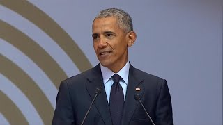 Obama addresses today's greatest challenges in speech honoring Mandela