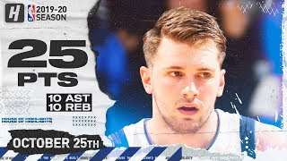 Luka Doncic Triple-Double Full Highlights vs Pelicans (2019.10.25) - 25 Pts, 10 Reb, 10 Ast!