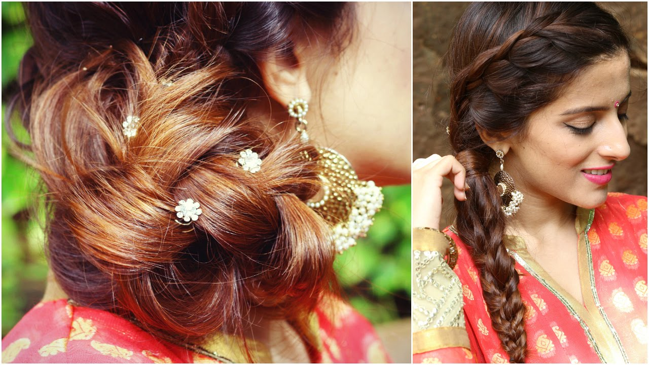 3 Indian Hairstyles For Medium To Long Hair | Indian Wedding Hairstyles For  Medium Hair   YouTube