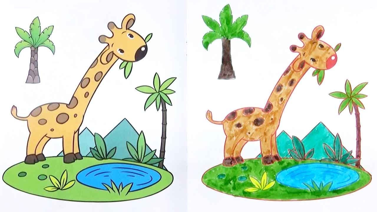 Giraffe Coloring Page Drawing For Kids Educational Videos For