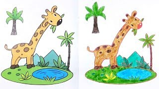 Giraffe coloring page - Drawing For Kids - Educational Videos for Toddlers