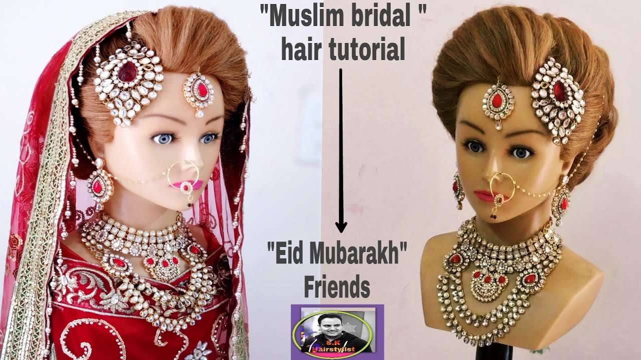muslim bridal hair tutorial/bridal hair tutorial step by step/indian bridal hairstyle/bridal updo