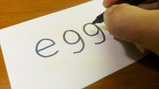 Very Easy ! How to turn words EGG into a Cartoon for kids -  Drawing doodle art on paper