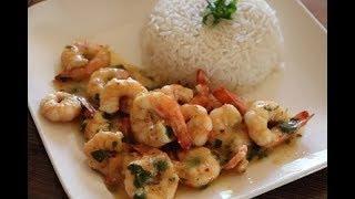الروبيان(الجمبري)(القريدس) بالزبدة والثوم من اروع ما يكون  Garlic butter shrimp
