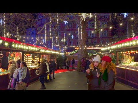 London Walk - Leicester Square Traditional Christmas Market - England, UK