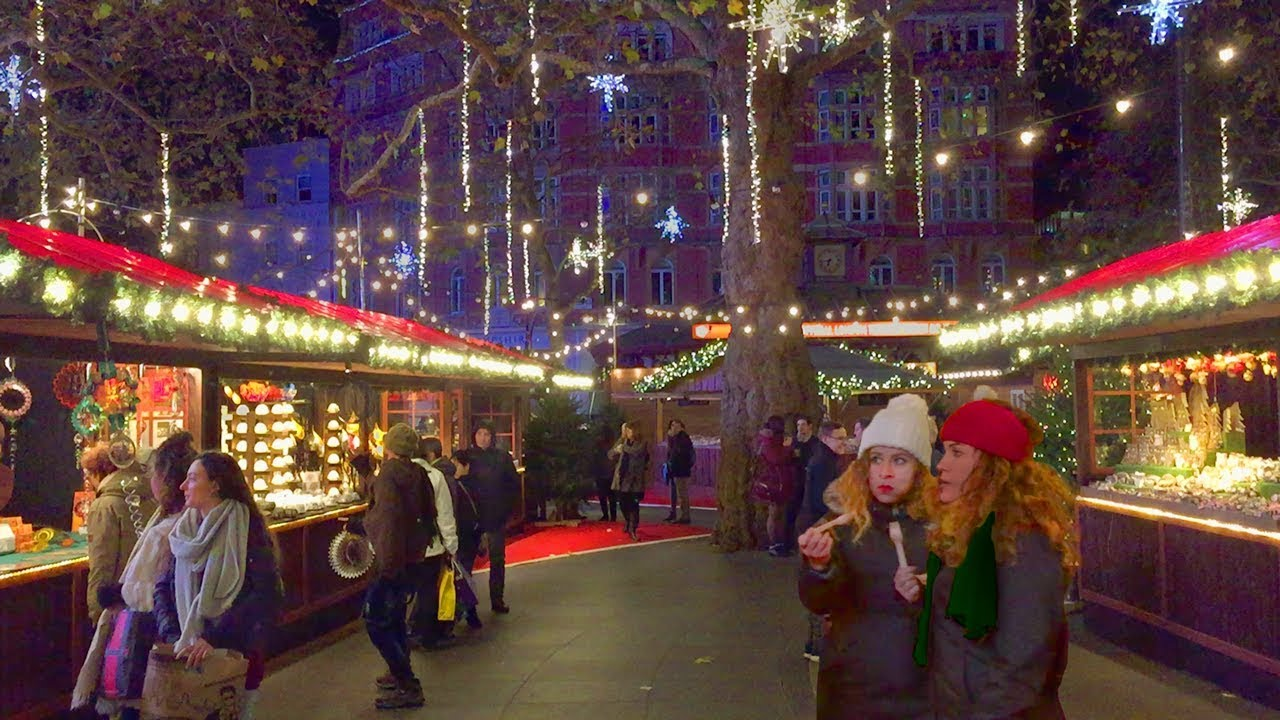 Christmas In England.London Walk Leicester Square Traditional Christmas Market England