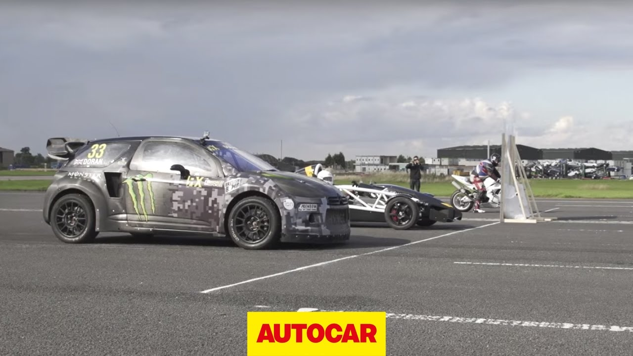 Ariel Atom 3 5r Vs Yamaha Yzf R1 Monster Energy Citroen Ds3 Rallycross Supercar Drag Race