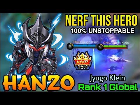 UNSTOPPABLE Hanzo MVP 15,1 Points! Please NERF Him! - Top 1 Global Hanzo By Jyugo Klein - MLBB
