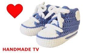 ПИНЕТКИ кеды КРЮЧКОМ схемы How to Crochet New Born Slippers CONVERSE STYLE