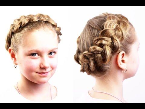 Прическа корзинка из обратной французской косы. Basket Hairstyle of French Braid