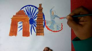 How to draw India Gate, how to draw qutub minar step by step, incredible india poster drawing