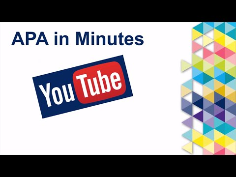 APA in Minutes: YouTube