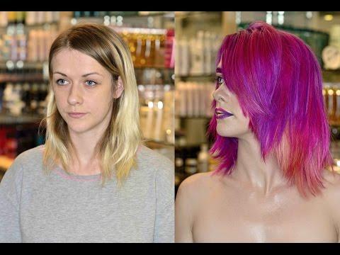 Neon hair dye, bright hair color with choppy layers for medium hair - asymmetrical haircut & curls