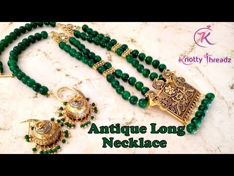 Antique Glass Bead Necklace With Jhumkas | Easy Jewelry Making Techniques | Www.knottythreadz.com