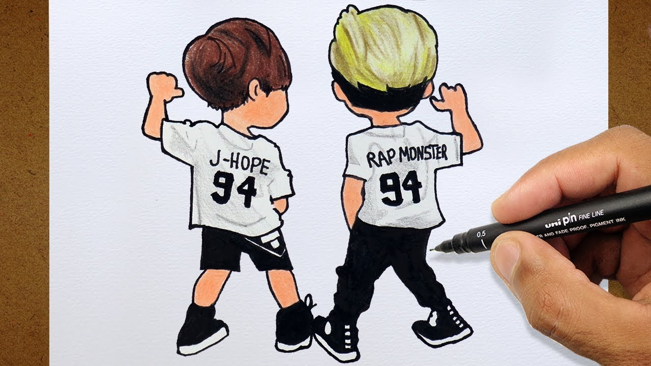Garotos Bts K Pop Vamos Desenhar Colorindo E Desenhando Youtube