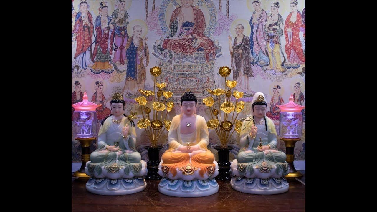 Bộ Tôn Tượng Tây Phương Tam Thánh Bột Đá Ngồi Vẽ Thủ Công (Thuận Duyên)