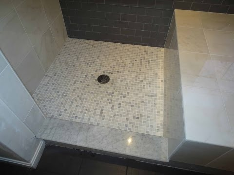 Complete bathroom install subway glass tile and Carrera marble tile Part 2