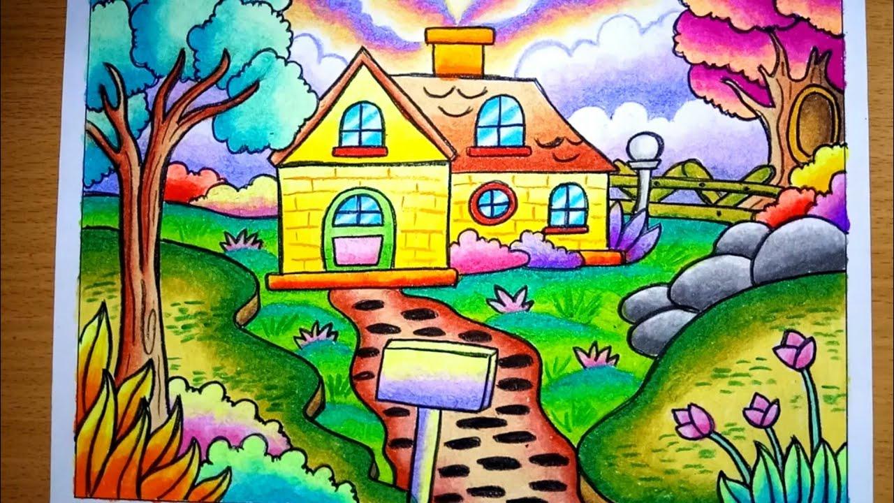 Cara Menggambar Dan Mewarnai Pemandangan Alam Dan Rumah Drawing