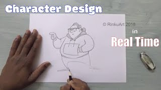 How to draw a Funny Fat Character in real time   Character Design   Tutorial