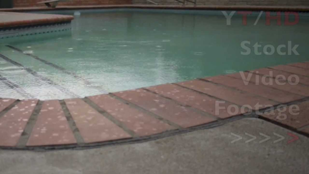 Light Summer Rain On Backyard Inground Swimming Pool Water Surface Hd Stock Video Footage