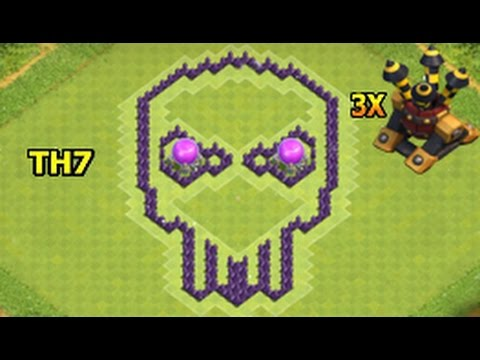 Clash Of Clans Skull Base Th7 Town Hall 7 Best Bat Layout