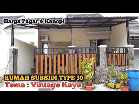 Renovasi Rumah Subsidi Type 30 || Review Harga Pagar Dan Kanopi Tema Vintage Dekorasi Kayu