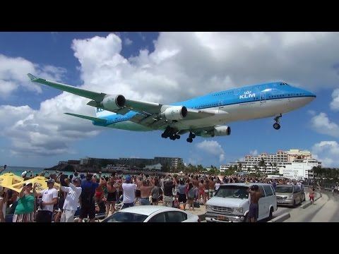 Extreme airport St. Maarten 2015 KLM Boeing 747 [Full HD]
