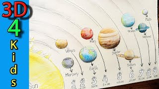 How to draw the Solar system with the 9 Planets step by step