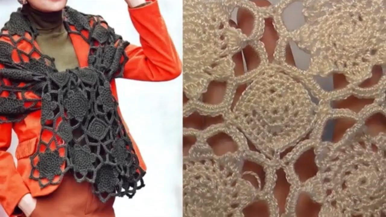 Наборной узор крючком Шарф Платье Кофта  Очень красиво