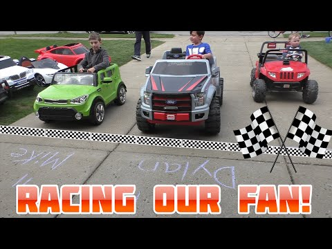 Thumbnail: Power Wheels Driveway Racing with Fan Who Finds Us | KidTraxx Sportrax Peg Perego Vehicle Collection