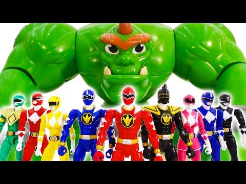 Power Rangers & Marvel Avengers Toys Pretend Play | Superhero Summon Zord vs Giant Monster ToyBattle