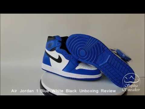 e4e131107a15 Sophia Sneakers Air Jordan 1 Blue White Black Unboxing Review - YouTube