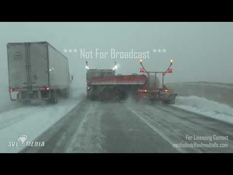 Valley City, North Dakota - Winter Storm Begins, Rollover Aftermath, Tow Plow I-94  Oct 10th, 2019
