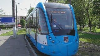 Full HD. Ukraine. Excursion around Vinnytsia City in the new tram T...
