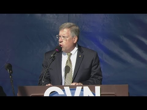 Newport News Shipbuilding president Matt Mulherin speaks at Gerald R. Ford christening