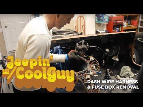 Jeep CJ7 Dash Wire Harness And Fuse Box Removal