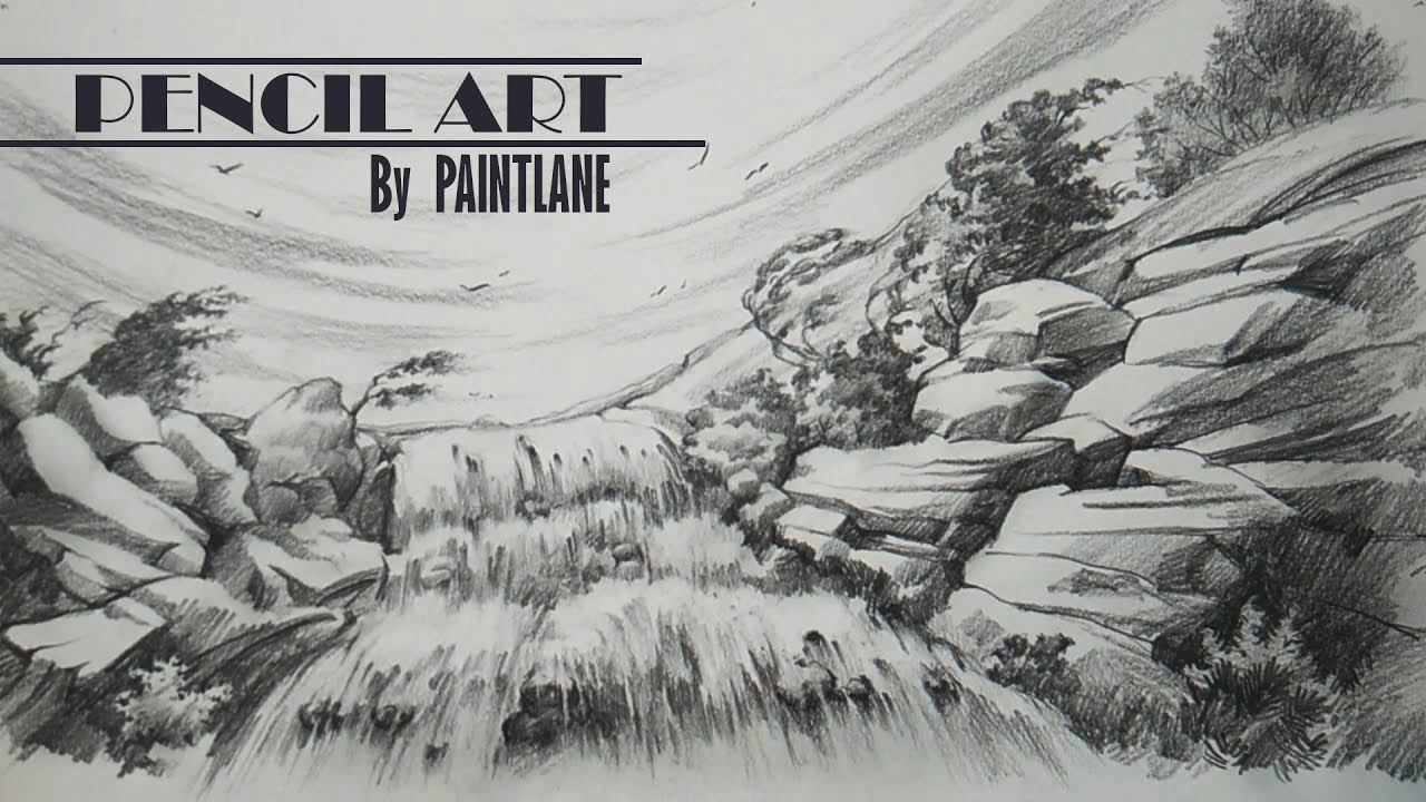 Waterfall in a wind landscape with pencil pencil shading drawing sketching