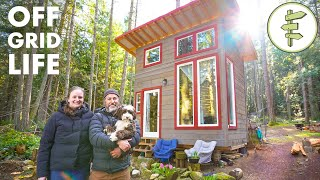 Couple Living Off-Grid on an Island in an Ultra Tiny Cabin