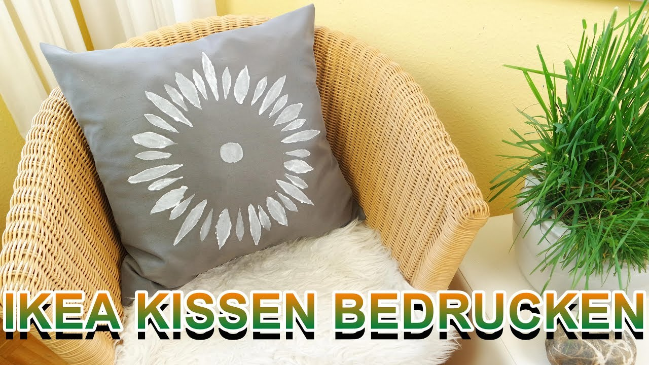 diy ikea kissen mit textilfarbe bedrucken g nstige ver nderung selber machen youtube. Black Bedroom Furniture Sets. Home Design Ideas