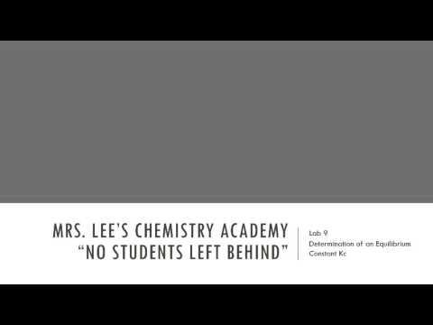 MLCA - Lab 09 - Determination of an Equilibrium Constant Kc