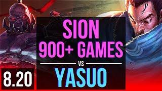 SION vs YASUO (TOP) | 900+ games, KDA 13/2/2 | EUW Challenger | v8.20