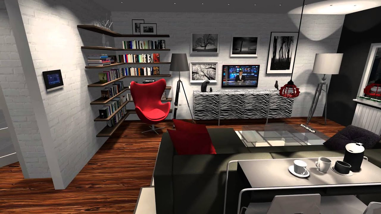 Living Room With Kitchen And A Separate Office Space 001