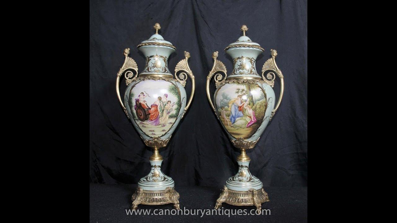 Pair dresden porcelain amphora urns vases angel panels youtube pair dresden porcelain amphora urns vases angel panels reviewsmspy