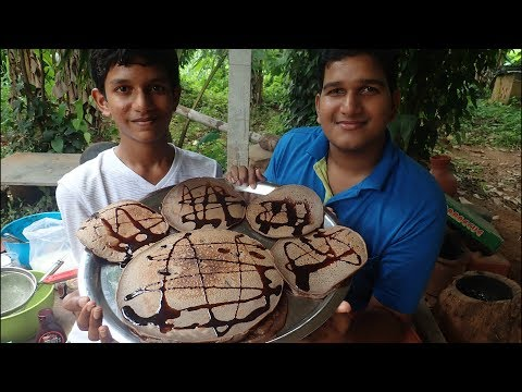 Village food factory /Big Chocolate Pancake recipes Cooking by my Family in my village