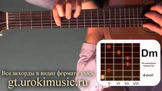 Ре минор. Аккорд Dm. d-moll. Позиция 5. Обучение игре на акустической гитаре urokimusic